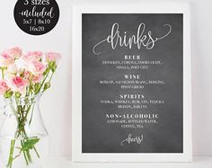 Bar Menu Sign For Wedding And Party Reception Poster  Wedding