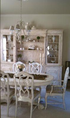 old white chalk paint french dining room ▇  #Home #French #Decor via - Christina Khandan  on IrvineHomeBlog - Irvine, California ༺ ℭƘ ༻