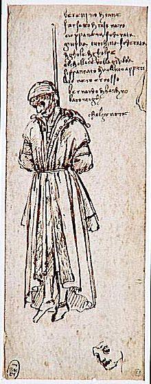 Pazzi-Verschwörung – Bernardo di Bandino Baroncelli wird gehängt (Skizze von Leonardo da Vinci