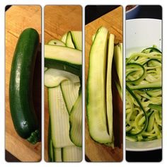 How to make #zoodles (zucchini noodles) without a julienne peeler: 1⃣ Find a relatively straight zucchini 2⃣ If you're not Norwegian, use a vegetable peeler (we use a cheese peeler, and yes - we have actually have such a thing) and make slices 3⃣ Stack up as many slices as you can and use a big knife to cut them in to as thick or thin strips as you want to. I went for the tagliatelle version today 4⃣ Put the strips in a bowl and mix it up with a couple table spoons of salt (this is just to dra…