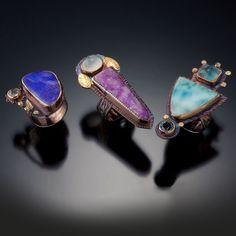Sterling silver, 22k gold, Opal, Moonstone, Sugilite, Larimar SOLD