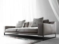 Sled base 3 seater leather sofa INDIZIO | Leather sofa - ERBA ITALIA