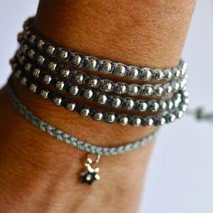 Sterling silver friendship bracelet. beaded by VivienFrankDesigns