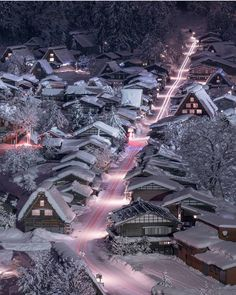 Winter light trails in Gifu, Japan Photo by @gazellecity