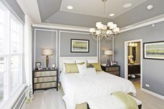 M I Homes Of Chicago Briarcliffe Townhomes Diversey Model Transitional Bedroom More Information Tray Ceiling Paint