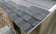 Last Update: October 2019 The shed roof is sheathed, now all you have to do is toss up some shingles, and nail them down. Shop Buildings, Small Buildings, Shed Roof, Roof Deck, Roofing Felt, Roofing Shingles, Roof Cap, Diy Storage Shed, Shingle Colors