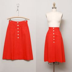 1960s Red High Waist Button Skirt  Evan by OldFaithfulVintage, $33.00