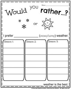 First Grade Opinion Writing Prompt - Would you Rather Snow or Sun