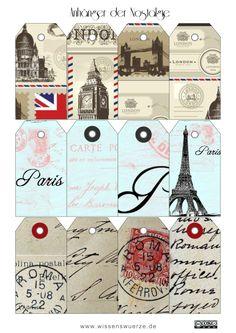 Heute gibt es Geschenkanhänger, die ich aus alten Postkarten zusammen gebastelt habe. London, Paris und Rom finden sich hier wieder. Falls Ihr also mal was mit dem nostalgischen Charme der Metropol...