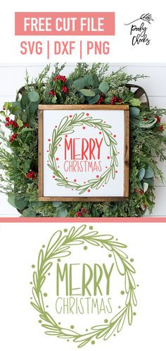 Merry Christmas Wreath Cut File - Silhouette and Cricut Free File - Cricut Christmas Cards, Merry Christmas Card, Christmas Wreaths, Christmas Decorations, Xmas, Christmas Time, Christmas Images Free, Christmas Letters, Burlap Christmas