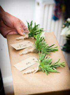 Rosemary alternative wedding buttonholes
