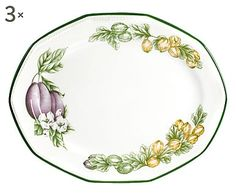 Set di 3 piatti ovali in stoneware Vict-Orchard - 31 cm