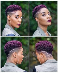 Click the link below to read about top tapered haircuts for women in – Tapered Hair Cut Purple Natural Hair, Natural Hair Short Cuts, Short Natural Haircuts, Tapered Natural Hair, Purple Hair, Short Hair Cuts, Natural Hair Styles, Shaved Hair Designs, Haircut Designs