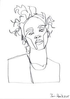 """""""Gaze 335 (Rihanna)″, continuous line drawing by Boris Schmitz"""