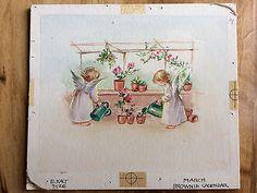 Original Art Erica Von Kager Brownie Calendar Rust Craft Angels RARE! March   | eBay