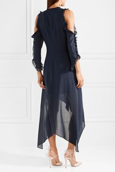 Claudie Cold-shoulder Ruffled Silk-blend Chiffon Midi Dress - Midnight blue Alice & Olivia Clearance Eastbay Online Shopping Ost Release Dates mv9JcRCC