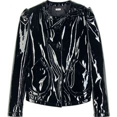 Miu Miu Patent Leather Jacket ($952) ❤ liked on Polyvore featuring outerwear, jackets, miu miu, black, cropped jacket, collar jacket, asymmetrical jackets, miu miu jacket and patent leather jacket