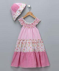 Pink Floral Seersucker Dress & Sunhat - Girls
