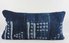 Stars Blue Mudcloth Pillow Small Lumbar