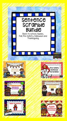 My students just love these literacy centers. This bundle includes 6 sets of my Sentence Scrambles: * Back To School * Apples * Fall * Fire Safety * Halloween * Thanksgiving  This bundle saves you 20%.