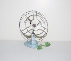 Vintage Fan Industrial Blue by CheekyVintageCloset on Etsy, $34.00