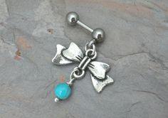 Silver Bow Cartilage Piercing Tragus Piercing YOU CHOOSE Gemstone Upper Ear Barbell on Etsy, $13.50