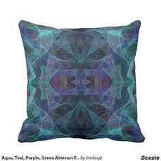 Aqua, Teal, Purple, Green Abstract Fractal Pillow