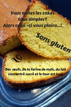 with corn flour ? If you like simple cakes, I recommend this recipe. A soft and tasty cake, flavored with vanilla, gluten-free, corn flour and sweetened condensed milk. Carb Free Diet, Lactose Free Diet, Cheap Clean Eating, Clean Eating Snacks, Flour Recipes, Cake Recipes, Brioche Sans Gluten, Cake Flour Recipe, Cake Sans Gluten