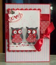 Handmade Valentines Day or Anniversary Card, Stampin Up Valentine Defined - Free… Holiday Cards, Christmas Cards, Funny Christmas, Owl Punch Cards, Valentine Love Cards, Owl Card, Creative Cards, Anniversary Cards, Diy Cards