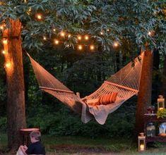 Hammock Add a romantic look to your backyard with lights + hammock!Add a romantic look to your backyard with lights + hammock! Backyard Hammock, Backyard Patio, Backyard Landscaping, Backyard Ideas, Hammocks, Pergola Ideas, Landscaping Ideas, Outdoor Hammock, Backyard Decorations