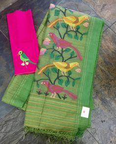 Green matkasilk saree with a jamdhani and muslin pallu paired with a silk (embroidered parrot) blouse piece. Sold separately. Drop by the store or email us at service.taamara@gmail.com for online enquiries/orders. houseoftaamara handlooms handmade organic sustainable slowfashion bangaloreshopping sareelove 04 March 2017