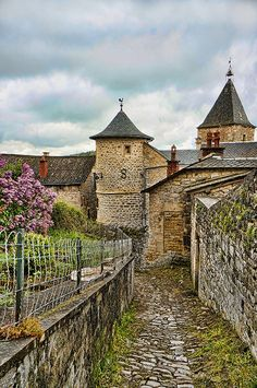 One of the remaining towers of the fortified village of Sévérac-le-Château in southern France |