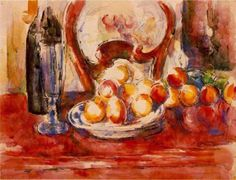 Still Life Apples, a Bottle and Chairback, 1902, Paul Cezanne    Medium: watercolor on paper