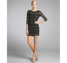 Romeo & Juliet Couture black and silver woven beaded stripe scoop back party dress