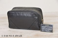 CHANEL Black Leather Diamond Stitches Cosmetic Hand Pouch