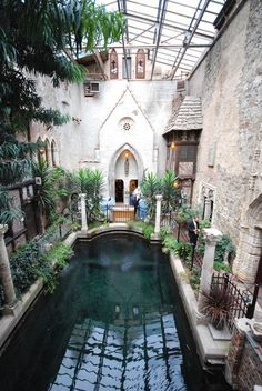 old world courtyard with pool