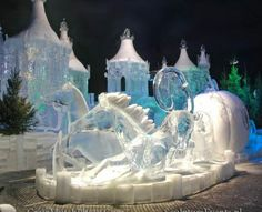 The Clock Strikes Midnight (Ice Sculpture) The moment in the Cinderella fairy tale where the carriage begins to turn back into a pumpkin and mice.