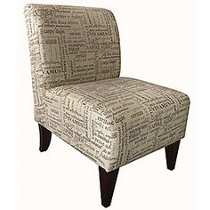 """Trilogy Brown Armless Accent Chair  $129.99        Armless styling with multi color fabric      Will work with any décor as a traditional or contemporary piece      Will work with many sofa colors and fits most room color schemes      Durable and easy to clean    23.5""""W x 28""""D x 34""""H"""