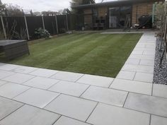 Create a contemporary garden with EM Silver smooth (sawn) natural sandstone paving. Patio packs cover and are available via your local stockists - contact Ethan Mason for more information. Image courtesy of TL Paving and Groundworks Garden Slabs, Garden Paving, Paving Stone Patio, Herb Garden, Vegetable Garden, Back Garden Landscaping, Backyard Patio Designs, Back Garden Design, Garden Landscape Design