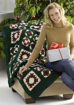 This Christmas Crochet Squares project provides great granny squares practice since it incorporates both large and small squares in the design. The free crochet afghan directions are easy to follow, and the finished product will brighten your home.