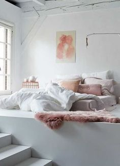 Cozy white and pink.