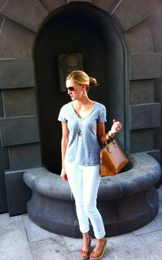 I'm a huge fan of a good grey t-shirt. I'm an even bigger fan of wearing grey with brown/tan accessories. Why is it that my brain always goes to black accessories when I'm wearing grey?!?!? Grey T-Shirt – C&C shirt was purchased a long time ago, White Jeans – AG Stevie from Anthropologie, Shoes – Read More