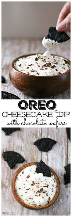 Oreo Cookies are the perfect combination of chocolate cookies and minty cream filling! Now the great flavors of the Oreo cookie are combined with cream cheese to make a cheesecake dip that will remind you of Oreo cookies and milk. Make your own homemade chocolate wafers to dip! Oreo Cheesecake Dip Recipe with Homemade Chocolate Wafers
