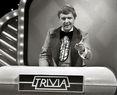 "April 1978. The game show - ""Trivia"", host Red Robinson."