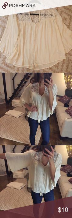 Boho Blouse Cream Boho blouse with lace and tassel detail. Very flowy and comfortable Forever 21 Tops Blouses