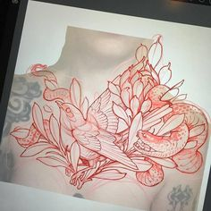 Flower Tattoo Drawings, Tattoo Sketches, Flower Tattoos, Snake And Flowers Tattoo, Neo Traditional Roses, Neo Traditional Tattoo, American Traditional Rose, Desenho New School, Dibujos Tattoo