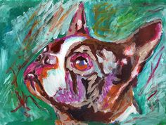 Boston bull terrier gift, Dog Painting - Signed Print from original acrylic…