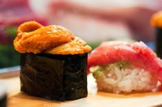 Uni sea urchin and toro nigiri  at Daiwa Sushi Restaurant at Tsukiji Market in Tokyo Japan by Melody Fury Photography. Food, Drink, Restaurant Photographer and Writer in Vancouver BC and Austin TX