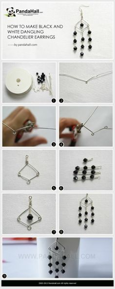 How to Make Black and White Dangling ... | Jewelry Making Tutorial by wanting