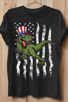 Your rad 4th of Juli apparel featuring a funky patriotic Tyrannosaurus Rex wearing American Flag colored sunglasses and a stars and stripes top hat. Grab this Americasaurus Rex Apparel now! Perfect gift idea for a dinosaur-lover to celebrate independence day and your beloved country. Get your fancy prehistoric uncle sam reptile novelty now. American Flag Colors, Kawaii, Branded T Shirts, Funny Shirts, Fashion Brands, American Dreams, Stripes, Tyrannosaurus Rex, Fancy